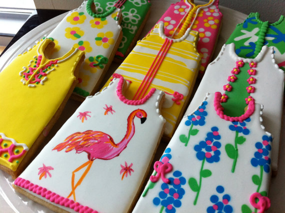 Lilly Pulitzer Inspired Shift Dress Decorated Cookies, Perfect for your summer party.