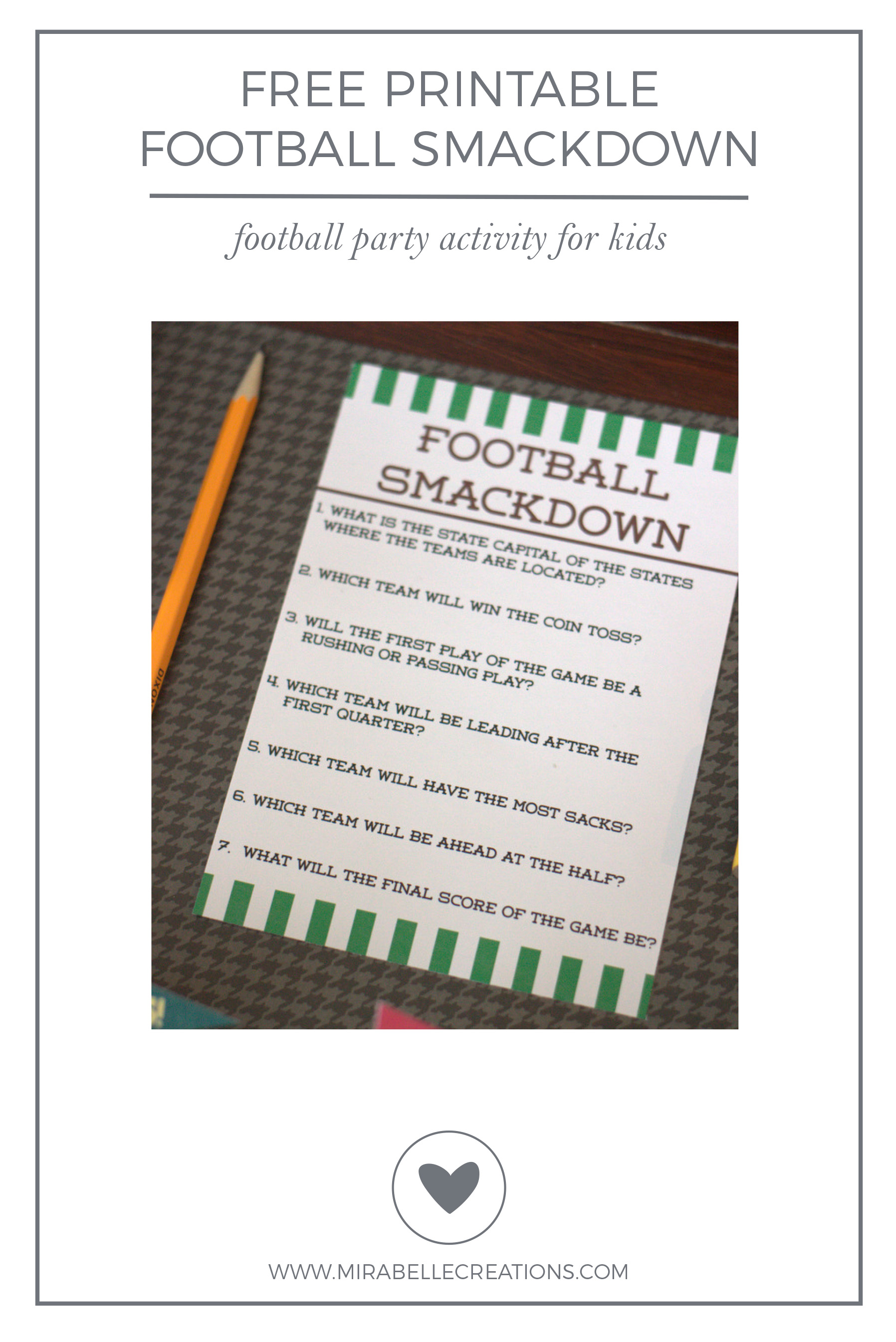 Free Printable Football Party Activity for Kids
