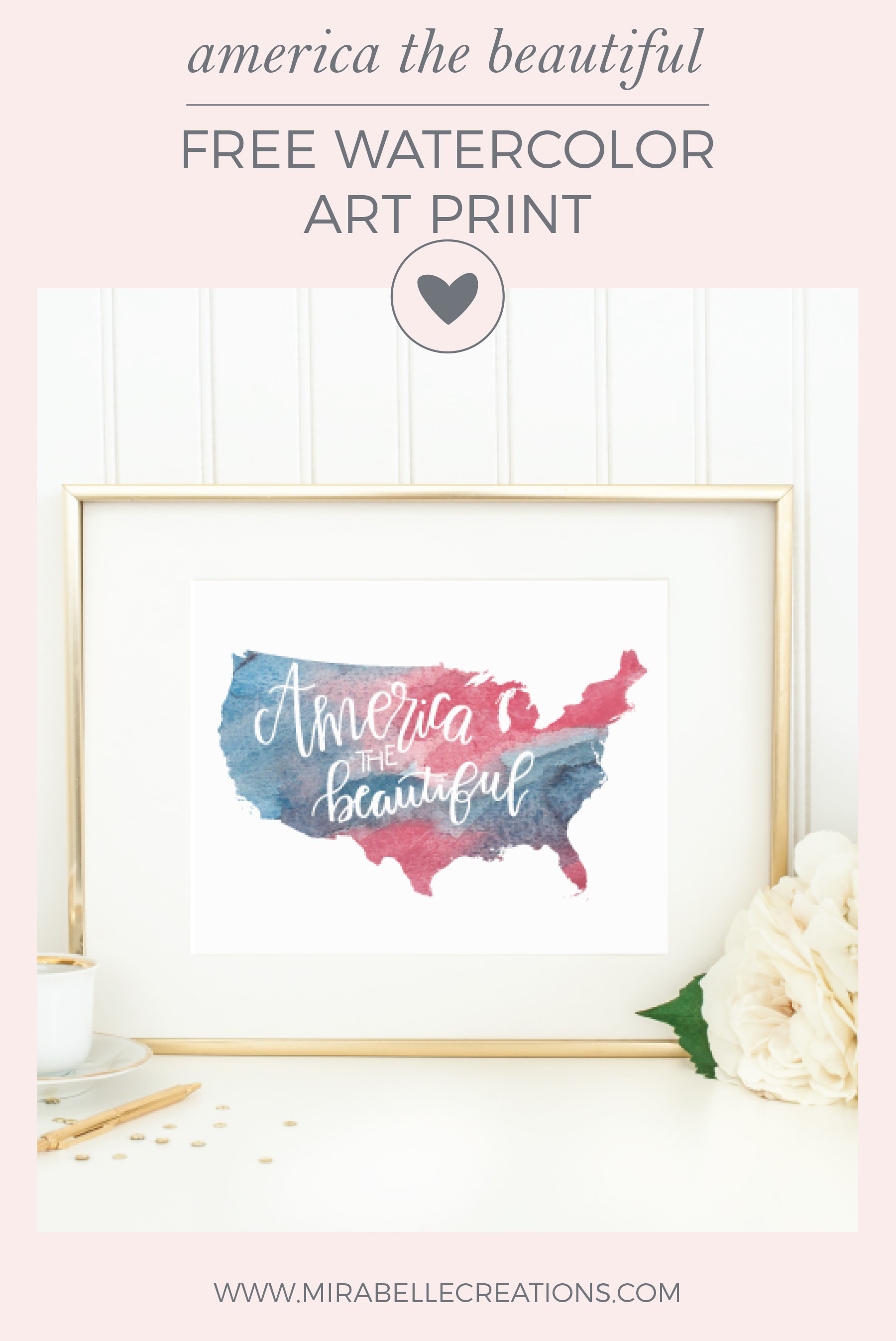 America the Beautiful Hand Lettered Watercolor Art Print