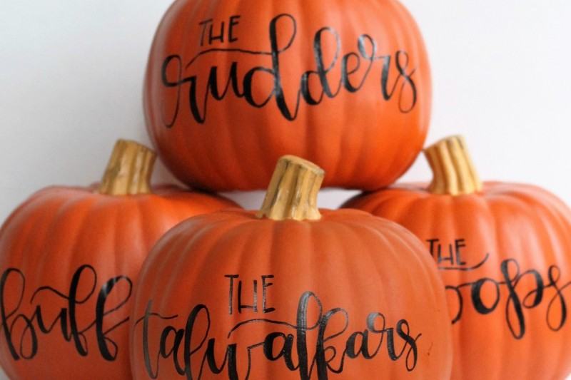 hand lettered pumpkin