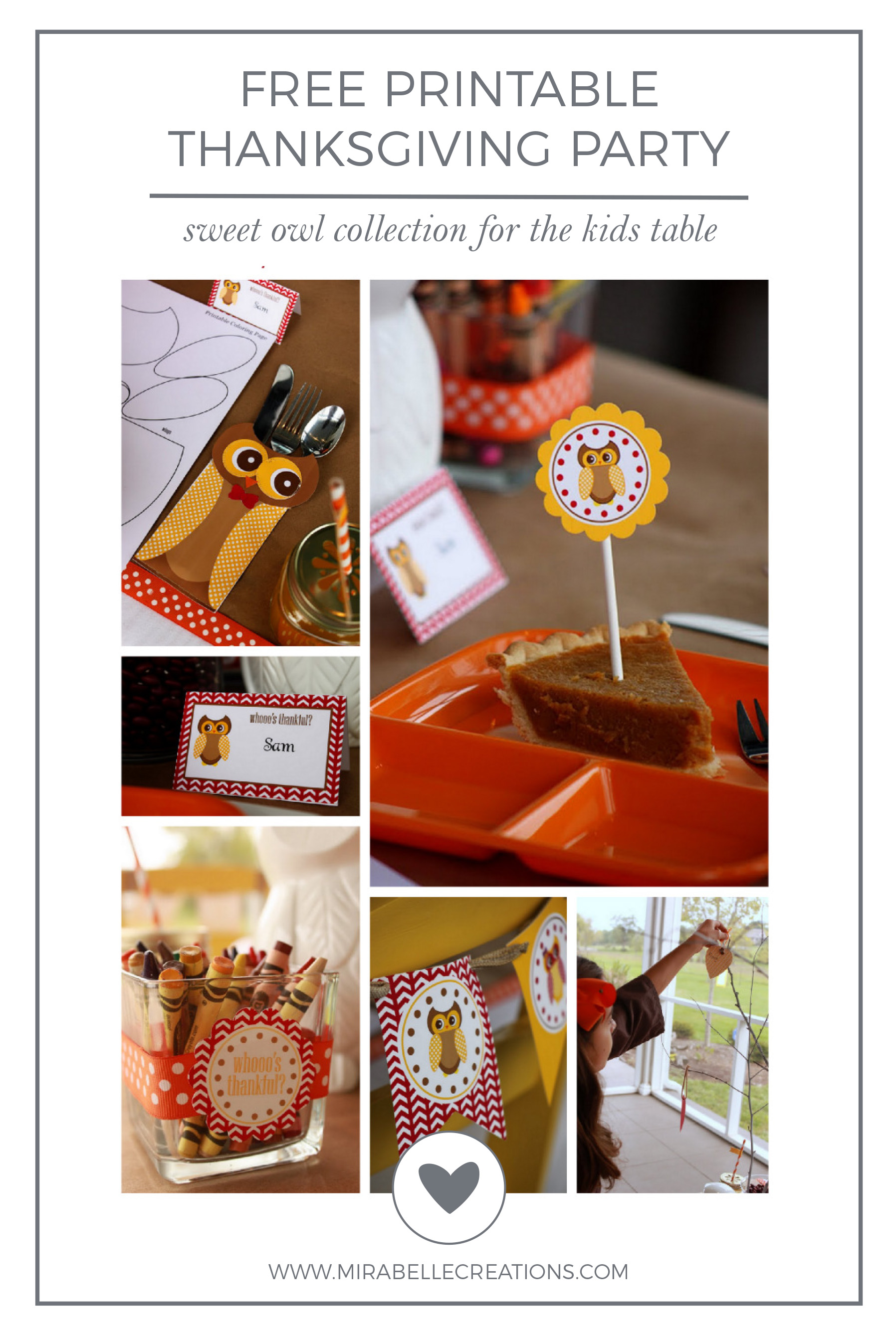 Whooooooo's Thankful? Kids Thanksgiving Party Free Printables