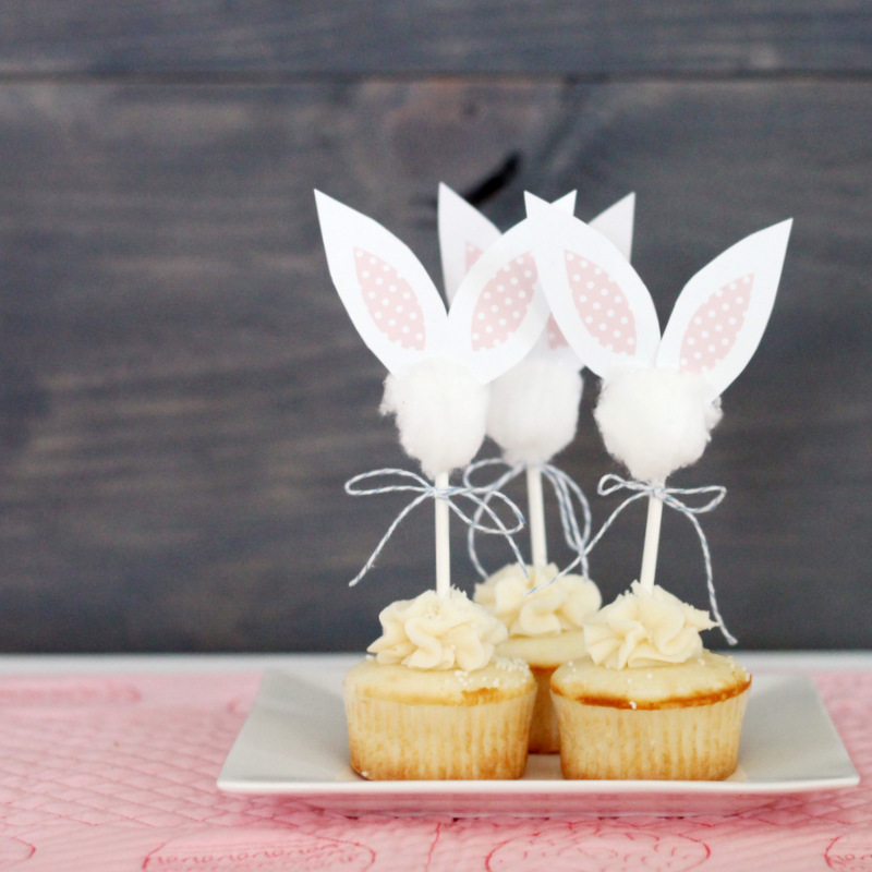 Easter Bunny Cupcake Toppers free printable by Mirabelle Creations