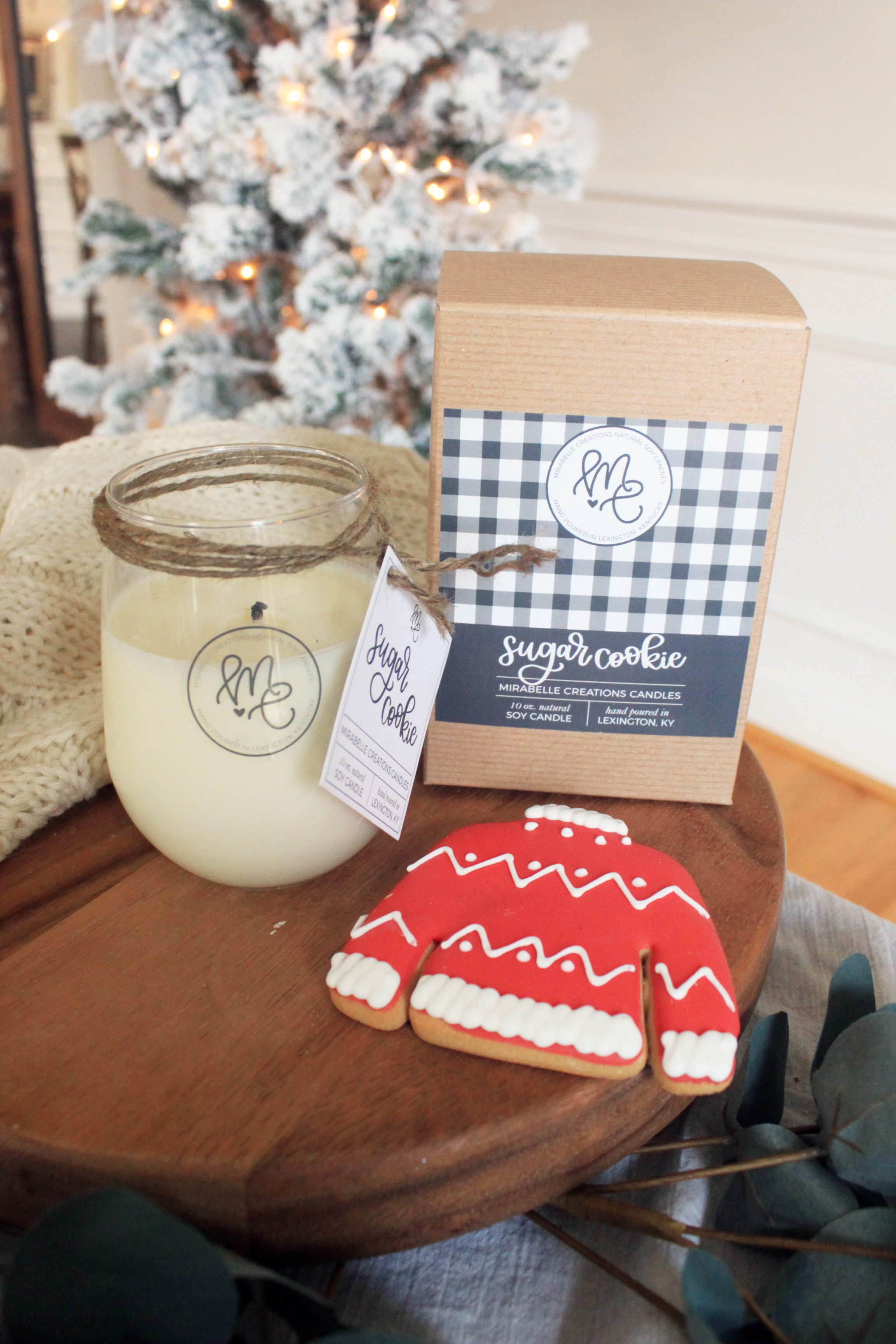 Holiday Soy Candle Collection - Mirabelle Creations Wine Glass Candle - Sugar Cookie