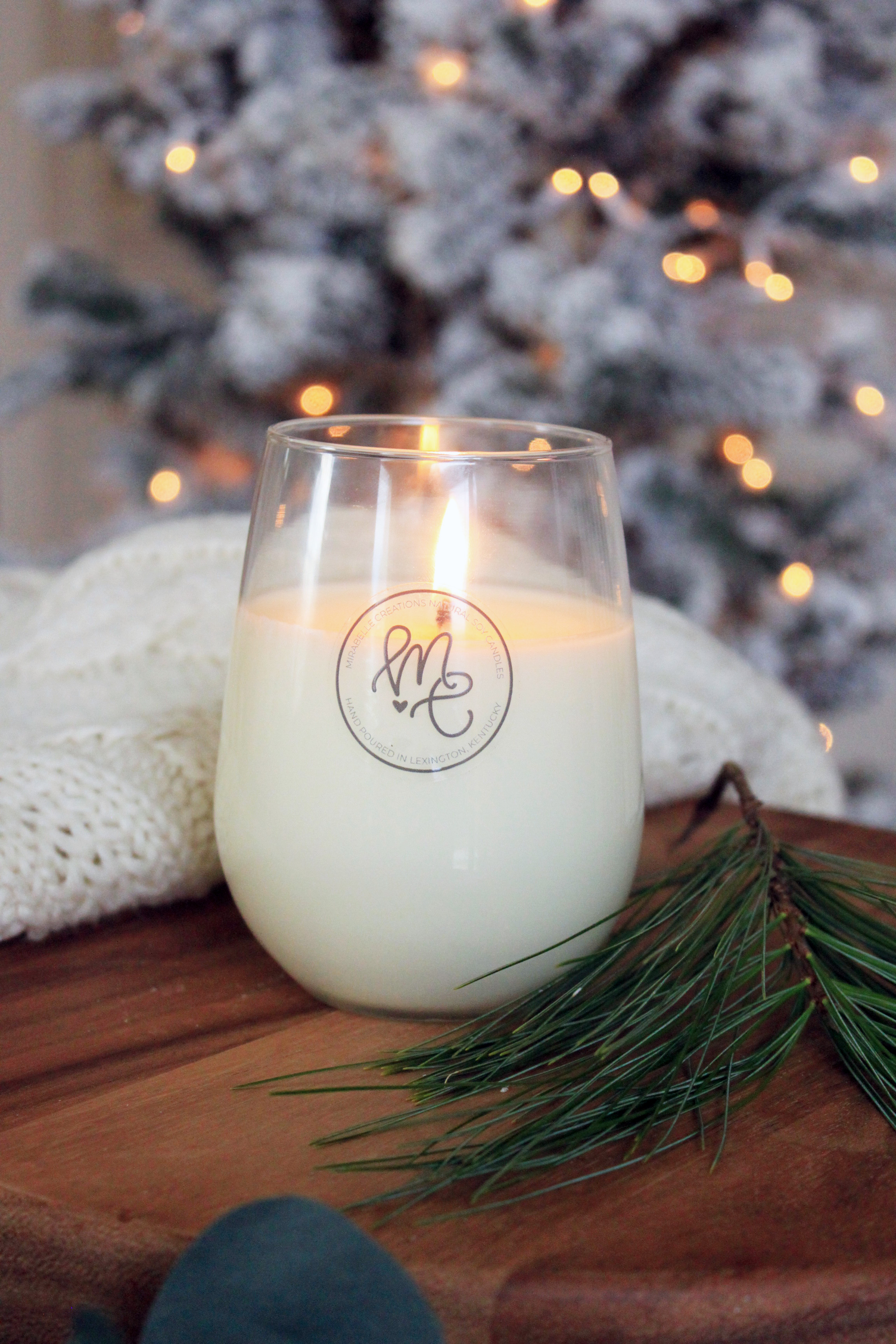 Holiday Candle Collection - Mirabelle Creations Wine Glass Soy Candles
