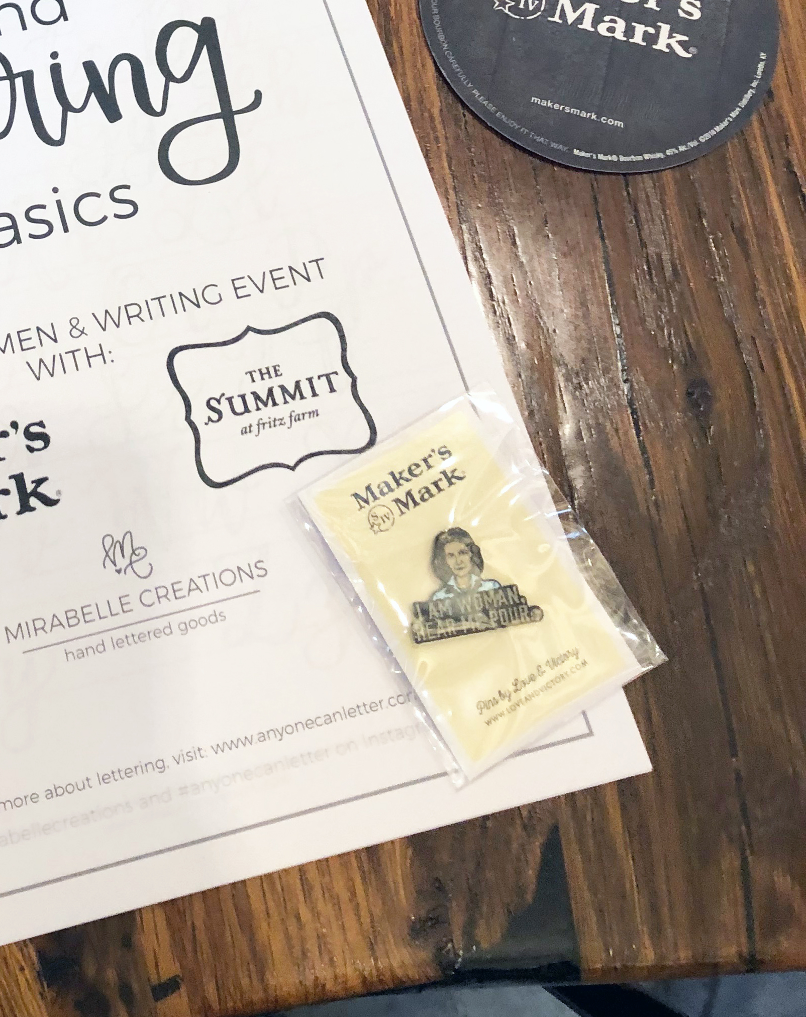 Maker's Mark Whisky, Women & Writing Event at the Summit at Fritz Farm with lettering by Mirabelle Creations