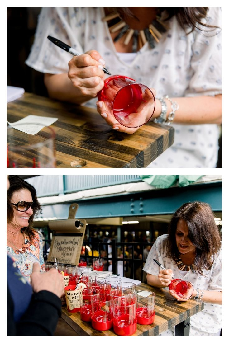 Deanna Talwalkar of Mirabelle Creations personalizing Makers Mark Bourbon Glasses at Keeneland for the Kentucky Derby
